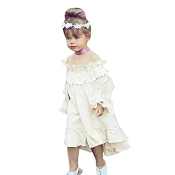 Remoción bestoppen bebé niñas vestido de princesa de, diseño de manga larga OFF hombro Lace