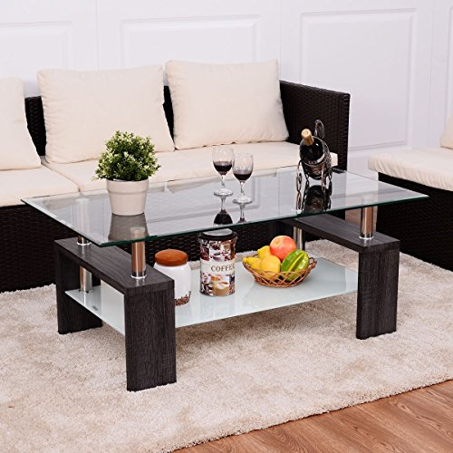 - Premium Modern Coffee Table With Clear Glass Top Solid Wood Legs With Storage Shelf Low For Any Home And Living Room. (Black)