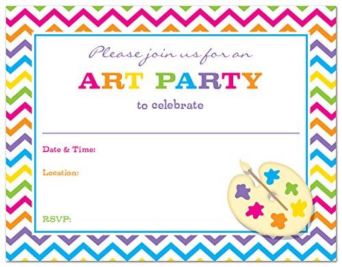 24 Rainbow Chevron Art Party Fill-in Birthday Party Invitations