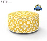 Inflatable Stool Ottoman Portable Travel Bean Bag Cushion Yellow Color Indoor/Outdoor Round Inflatable Footstool for Kids and Adults Used for Camping Patio Home Office Yoga Meditation by FBTS Prime