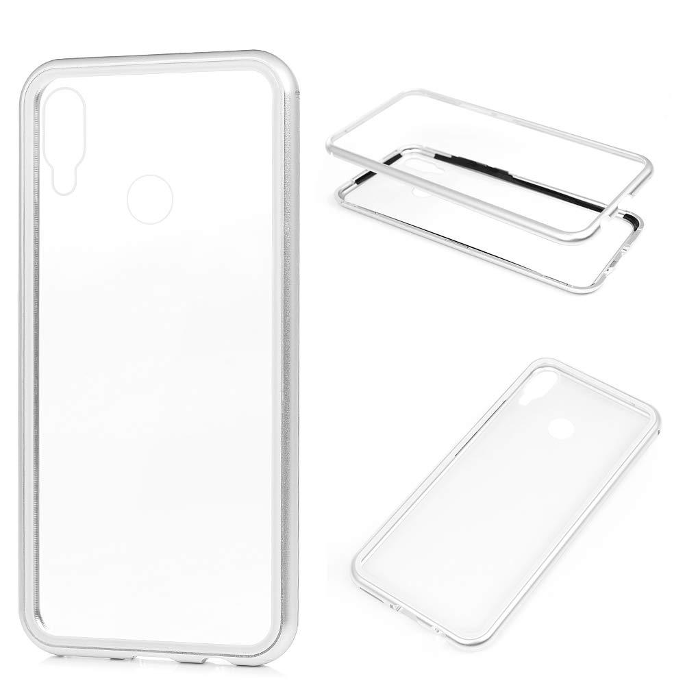 SUPWALL Cover per Huawei P Smart Plus, Custodia Struttura in Metallo + Vetro temperato - Attrazione Magnetica Ultra Sottile Cassa Anti-Skid Antiurto Protettiva Case - Argento