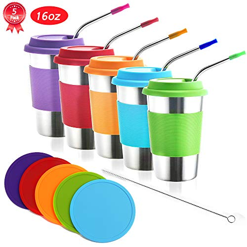 - Kids Stainless Steel Cups with Lids and Straws,5 Pack 16oz Stainless Steel Kids Tumblers with Lids and Coaster,Metal Kids Cups with 5 Silicone Tips Straws,Metal Tumblers with Lids for Kids and Adults
