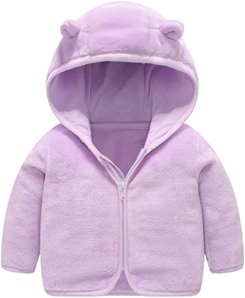 Solid Color Hooded Jacket Fall Clothes for 0-6T Little Kids Toddler Baby Boys Girls Lightweight Outerwear Zipper Coat