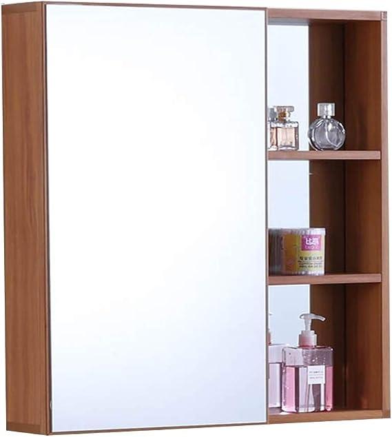 Armarios con espejo Espejo Baño Bastidor De Almacenamiento Armario De Baño Espejo De Baño De Pared (Color : Wood Color, Size : 70 * 68cm): Amazon.es: Hogar