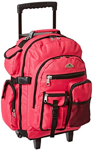 Everest Deluxe Wheeled Backpack, Hot Pink, One - Pink Wheeled Backpacks