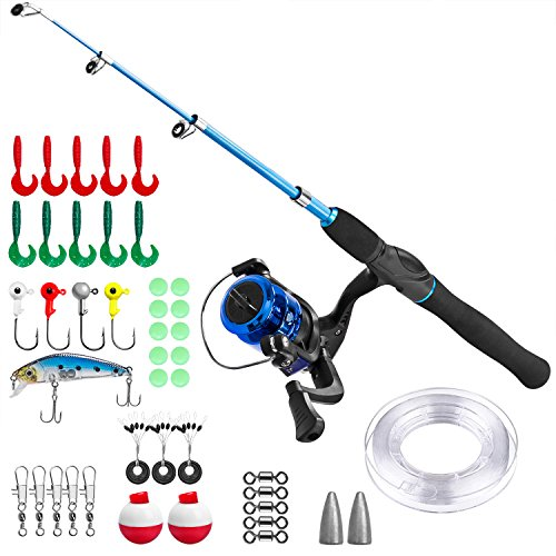 PLUSINNO Kids Fishing Pole,Telescopic Fishing Rod and Reel Combos with Spinning Fishing Reel and String with Fishing Line (Black, 150CM)