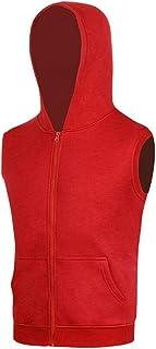 GRMO Men Active Sleeveless Zip up Solid Color Hoodies Casual Vest