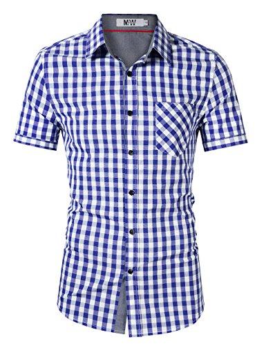 MrWonder Men's Casual Fit Button Down Short Sleeve Plaid Dress Shirts Blue M