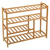 "Ollieroo Shoe Rack 4 Tier Natural Bamboo Entryway Shoe Storage Shelf L 31.5""x W 10.3"" x H 26"""