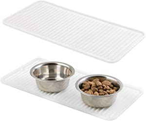 mDesign Premium Quality Pet Food and Water Bowl Feeding Mat for Dogs and Puppies - Waterproof Non-Slip Durable Silicone Placemat - Raised Edges, Food Safe, Non-Toxic - Small, 2 Pack - Clear