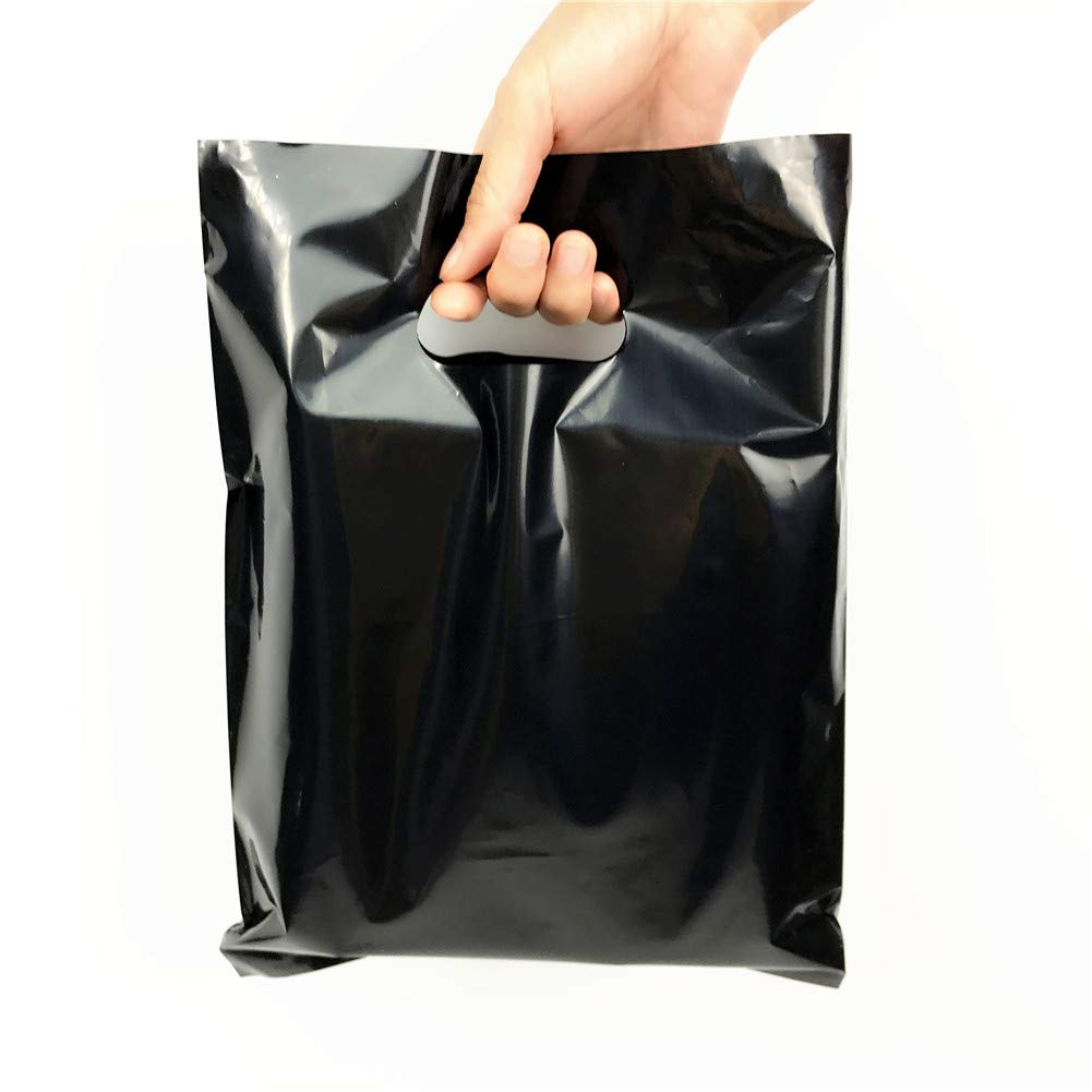 SES.CO 9x12'' Glossy Black Plastic Merchandise Bags Reatil Bags Customer Shopping Bags Wedding Party Favors Gift Bags to Wrap Small Clothing Underwear Gift Toy (100 pack)