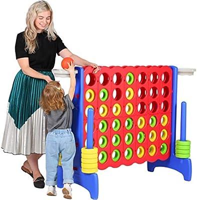 Juego gigante de cuatro en una fila de 4 pies para adultos y niños, juego de baloncesto, actividades al aire libre, juego de piso para niños y adolescentes, 64 pulgadas, Jumbo Interior,