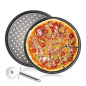 Set da 3 pezzi : 2 Teglie per Pizza Rotonde Forate Antiaderenti, Grigio Acciaio al Carbonio, Stampo da Forno per…