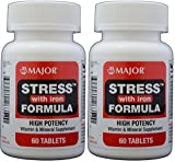Stress Tab with Iron High Potency Stress Formula with B-Vitamins, C+E, plus Antioxidants and Iron For Immune Support 60 Tablets per Bottle Pack of 2 Total 120 Tablets For Sale