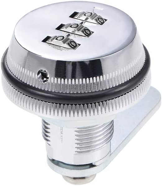 sourcing map 3-Dial Code Combination Cam Lock 19mm Diameter 20mm Length Cylinder Silver Tone