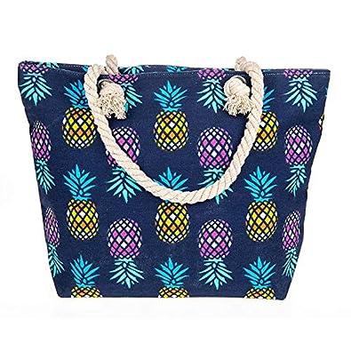 LADIES CANVAS MULTICOLOUR ROPE HANDLES BEACH SHOPPER TOTE BAGS Shopping