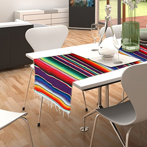 - CRJHNS Table Runner Mexican Handwoven Cotton Serape for Party Wedding and Home Decorations,14x84 Inch (14x84)