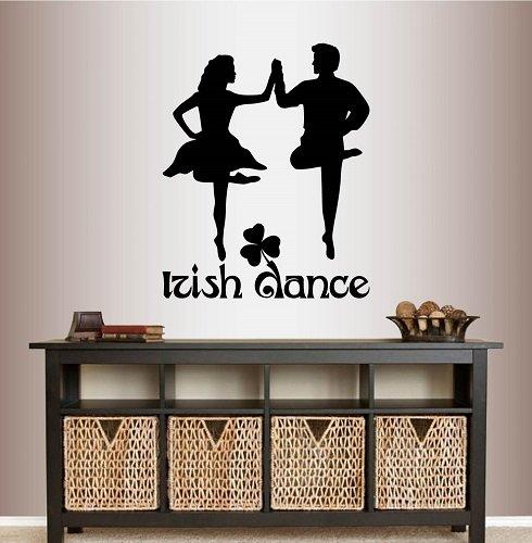 Wall Vinyl Decal Home Decor Art Sticker Irish Dance Words Sign Dancers Boy Girl People Man Woman Ireland Dublin Celtic Step Dance Studio Class Bedroom Living Room Removable Stylish Mural Unique Design 281