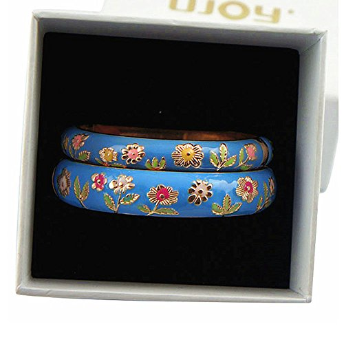 (UJOY Bracelet Bangles Gold Plated Gorgeous Enameled Flower Handcraft Cloisonne Jewelry Gifts Packed in Box 55C36 Sunflower Light Blue)