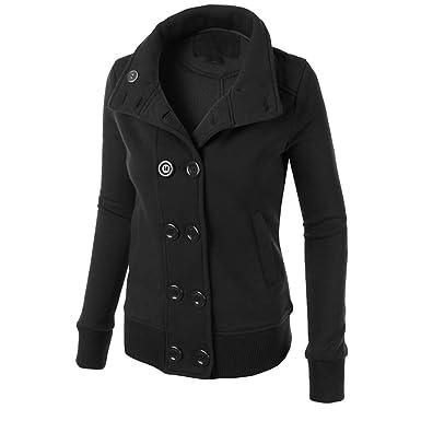 CeRui Abrigo Chaqueta de Paño Clásico con Capucha de Para Mujer Tamaño XL Negro: Amazon.es: Ropa y accesorios