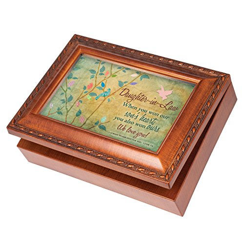 Daughter In Law Love Wood Finish Jewelry Music Box Plays Tune How Great Thou Art