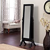 Jewelry Armoire Cheval Mirror - Full Length Floor Free Standing Dressing Grooming Tilting Bedroom Home Furniture Storage Organizer (High Gloss Black)