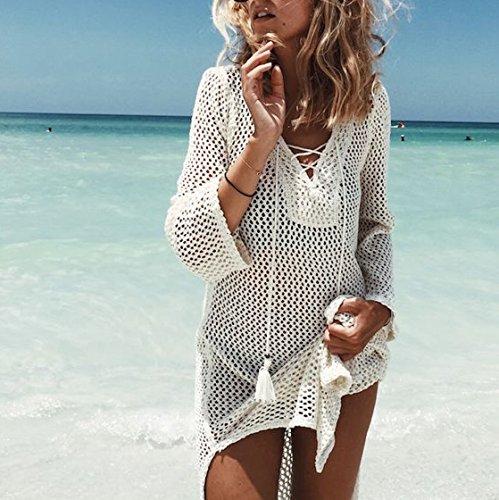 d8f92c24a53b Jeasona Women s Bathing Suit Cover Up Crochet Bikini Swimsuit Swimwear Dress  (Off White