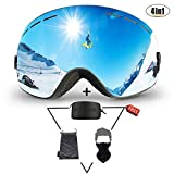 Ski Goggles Set, KACOOL Anti-fog Snowboard OTG Design Ski Goggle UV 400 Protection Snow Goggles Helmet for Skiing Snowboard Snowmobile Fit for Men, Women and Youth - Free Ski Mask & Hard EVA Case