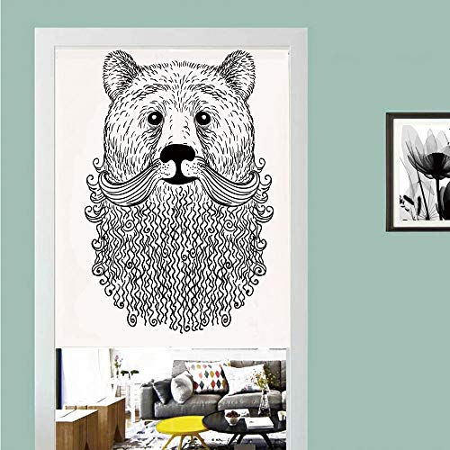 3D printed Magic Stickers Door Curtain,Indie,Doodle Style Sketch Bear Portrait with Curly Beard and Mustache Cute Cool Animal Decorative,Black White ,Privacy Protect for Kitchen,Bathroom,Bedroom(1 Pa ()