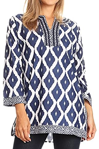 Sakkas 20166 - Ida Fresh Casual Cotton Paisley Tunic Blouse Top with 3/4 Sleeve - Blue - 3X (Sakkas 3x)