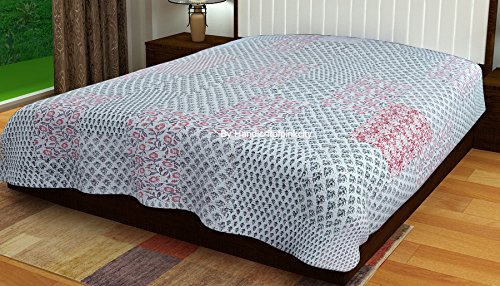 Handicraftofpinkcity Gray Color Kantha Reversible Quilt Queen/king Size made with Organic Cotton, Soft and Lightweight; Breathable and Absorbent; Durable and Eco Friendly Bedspread or Throw Blanket