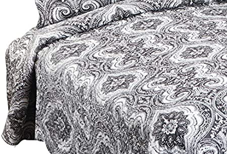 Marina Decoration Pinsonic Embossed Printed Coverlet Bedspread Ultra Soft 3 Piece Summer Quilt Set with 2 Quilted Shams Dark Grey Damask Pattern Queen Size