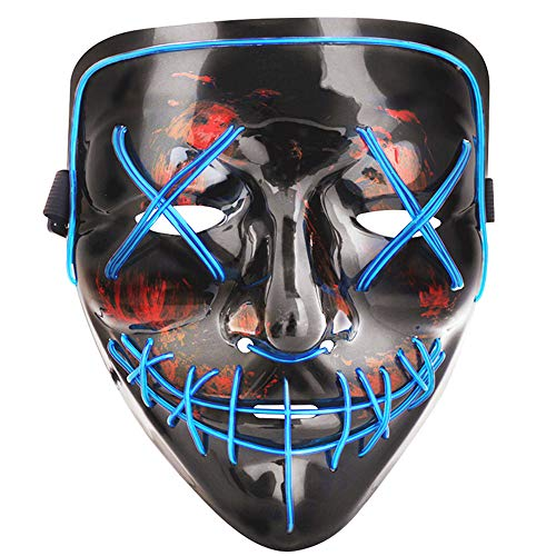 Scary Halloween Monster Masks (Tcamp Halloween Scary Mask LED Cosplay Costume Mask El Wire Light Up Mask for Halloween Festival Party)