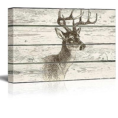 Rustic Wooden Style Buck - Canvas Art
