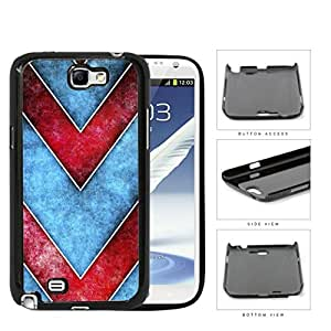 Large Chevron Blue/Red Grunge Hard Plastic Snap On Cell Phone Case Samsung Galaxy Note 2 II N7100