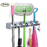 MODEAR Mop Broom Holder Wall Mounted Commercial Organizer Storage Rack 5 Position with 6 Hooks Holds Up to 11 Tools for Kitchen Garden and Garage,Laundry Offices(2 pack)