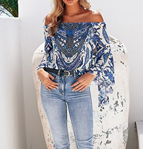 Bleu Femmes Shirt Top T Courtes paule HARRI Manches Off Casual zqd4v5xw