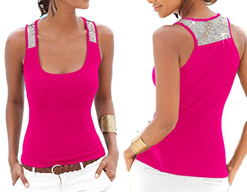 Running-sun-Women's Tank Tops Tank Tops Sleeveless Square Neck T Shirt Vest Singlets Sequined Tops,Fuchsia,XXL ()
