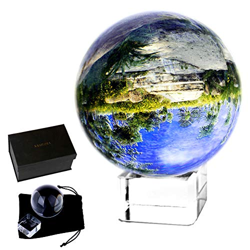 "Cheap KARSLORA Clear Crystal Glass Sphere Ball with Stand, 3.15""/80mm K9 Crystal Photography Prop Decoration Art Decor, Comes in Gift Box"