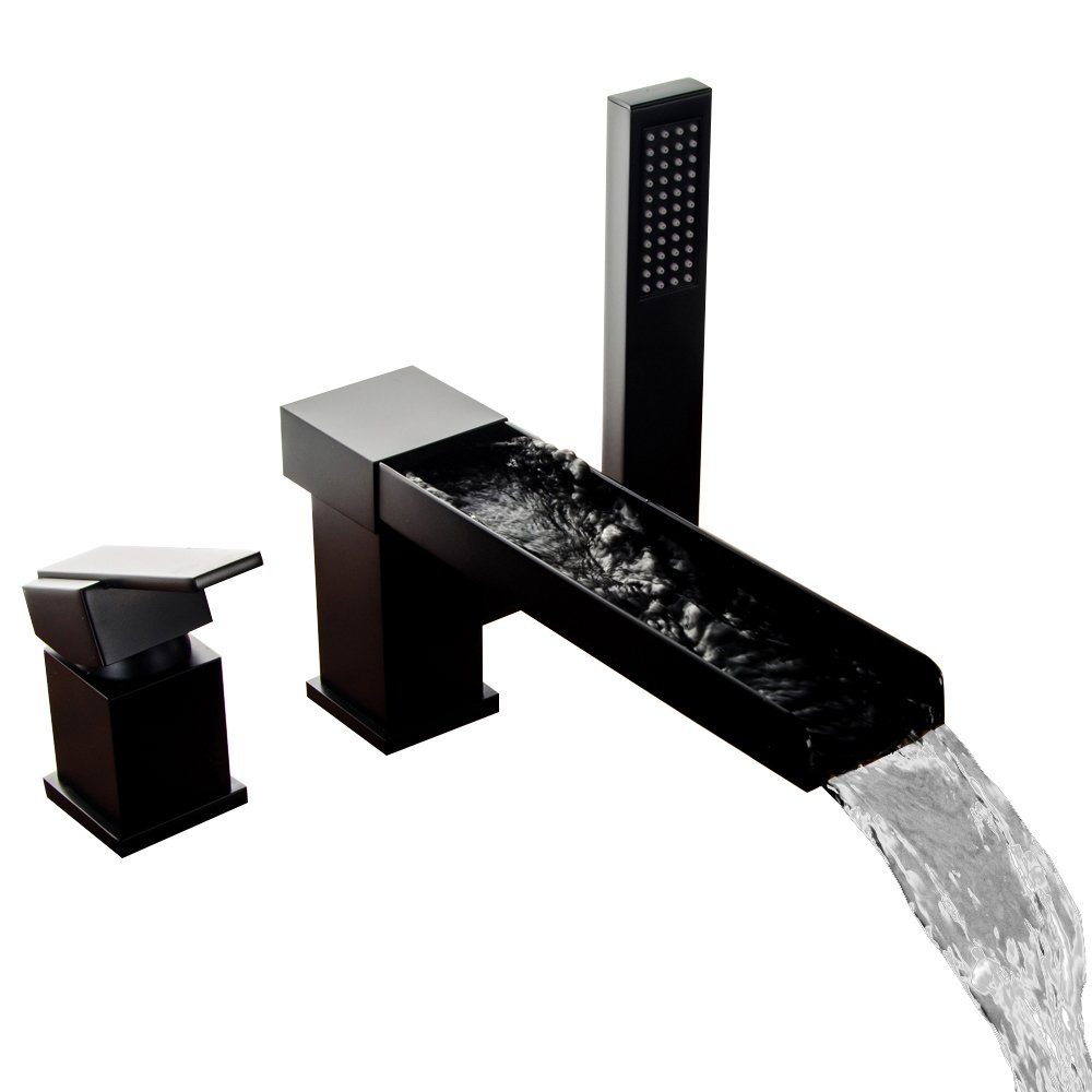 Lovedima Contemporary Black 3-Hole Waterfall Roman Tub Filler Faucet ...