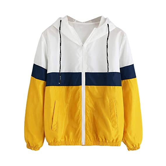 Amazon.com: Todaies Women Zipper Coat Patchwork Thin ...
