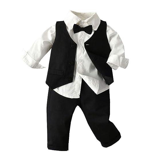 Zolimx 3 Piezas Trajes de Bebés Niños Chaleco + Camisa con ...