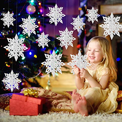 Christmas Party Decorations,12Pcs Holiday 3D Glittery Large White Snowflake Hanging Garland Flags -Christmas Winter Holiday New Year Party Home Decoration ()