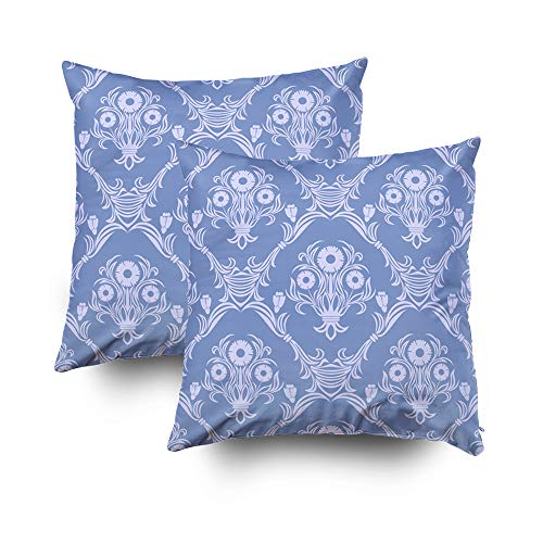 Shorping Kid Pillow Covers, Zippered Covers Pillowcases 18x18Inch Pack 2 Throw Pillow Covers Damask Seamless Retro Wallpaper Ornament with Bouquet of Flowers for Home Bedding