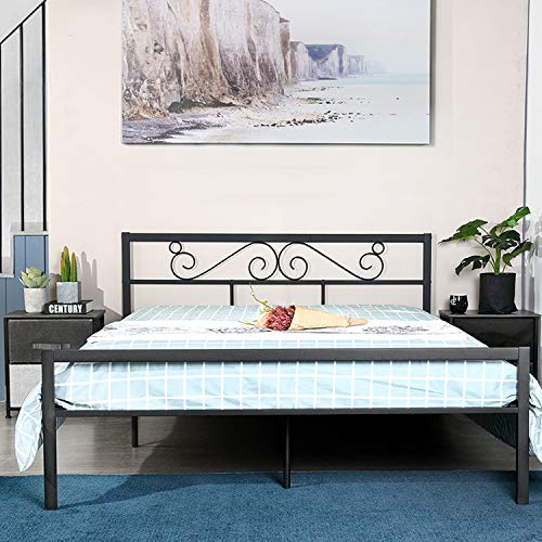 """GreenForest Queen Bed Frame with Wooden Slats Support Metal Platform with Headboard No Box Spring Needed 82.87"""" 62.99"""" 35.62"""",Black(Ignore Carton Print Double)"""