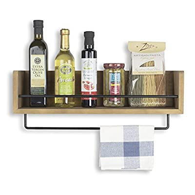 Rustic State Kitchen Wood Wall Shelf with Metal Rail Also Multi Use Can Be Used As a Spice Rack Living Room or Bedroom Wall Shelf , Walnut Stained (20, Walnut) - VERSATILE: This rustic decor walnut storage shelf was designed to bring functional style to any room in your home. Use in the kitchen, bar, bathroom, bedroom, office, hallway, entryway - or anywhere that you need a storage or display solution. One bar stretches across to protect fragile items, keeping them safe from falling off. A second detachable bar for hanging things like hand, bar or dish towels - fashion scarves and small accessories. RUSTIC & INDUSTRIAL: A creative blend of rich, rustic walnut wood and industrial metal bars blends to create a country piece with a modern feel. A timeless, classic addition to existing décor or inspiration for new design ideas. The gorgeous medium walnut hardwood brings a warm, country tone to the room and the metal bars brings a modern industrial feel to your space - forging to create a furniture accessory that shows off purpose, elegance, and taste. CUSTOMIZABLE: Use the towel bar in many ways, attached to the shelf, next to the shelf or stand alone in another room. The shelf looks great as a simple, single piece - or use more than one to create a more dramatic look - a matching set with even more storage space. Works really well in any room in your house and an opportunity to showcase your creativity. Great for fancy glassware, kitchen essentials, tinctures, oils, wellness products and more. - wall-shelves, living-room-furniture, living-room - 51b%2BpskPc2L. SS400  -