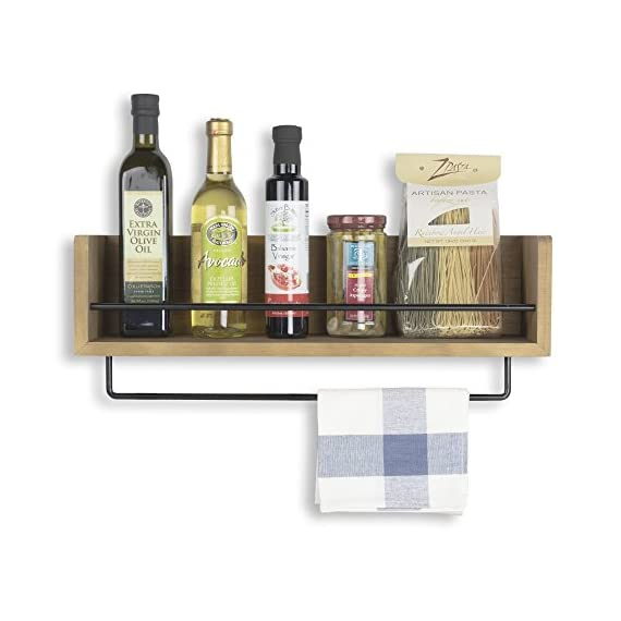 Rustic State William Wall Mount Floating Shelf for Kitchen | Bathroom | Nursery with Rail 22.25 Inch Walnut - VERSATILE: This rustic decor walnut storage shelf was designed to bring functional style to any room in your home. Use in the kitchen, bar, bathroom, bedroom, office, hallway, entryway – or anywhere that you need a storage or display solution. One bar stretches across to protect fragile items, keeping them safe from falling off. A second detachable bar for hanging things like hand, bar or dish towels - fashion scarves and small accessories. RUSTIC & INDUSTRIAL: A creative blend of rich, rustic walnut wood and industrial metal bars blends to create a country piece with a modern feel. A timeless, classic addition to existing décor or inspiration for new design ideas. The gorgeous medium walnut hardwood brings a warm, country tone to the room and the metal bars brings a modern industrial feel to your space – forging to create a furniture accessory that shows off purpose, elegance, and taste. CUSTOMIZABLE: Use the towel bar in many ways, attached to the shelf, next to the shelf or stand alone in another room. The shelf looks great as a simple, single piece - or use more than one to create a more dramatic look – a matching set with even more storage space. Works really well in any room in your house and an opportunity to showcase your creativity. Great for fancy glassware, kitchen essentials, tinctures, oils, wellness products and more. - wall-shelves, living-room-furniture, living-room - 51b%2BpskPc2L. SS570  -
