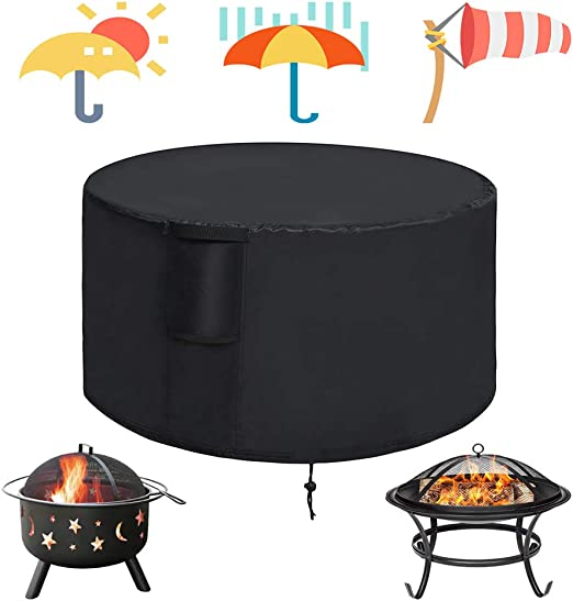 Round Waterproof BBQ Cover Grill Outdoor Fire Pit Kettle Gas Dust Rain Protector