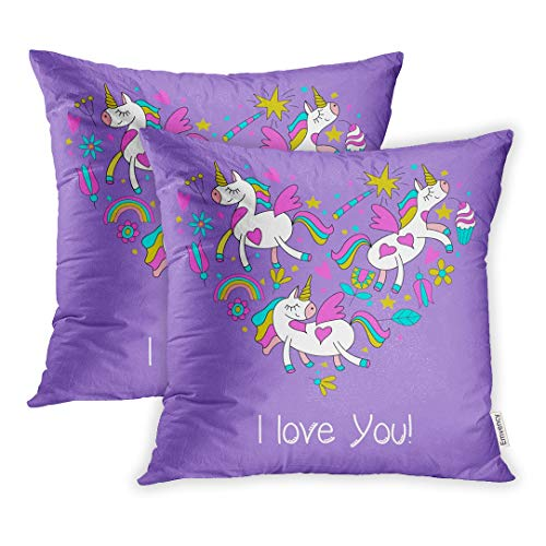 Heart Clipart Shape - Emvency Set of 2 Throw Pillow Covers Happy Valentine Day Cute Magical Unicorns Flowers Cakes Magic Wand Stars Rainbow of Cliparts Has The Shape Heart 18x18 Inch Decorative Cute Pillowcase Two Side