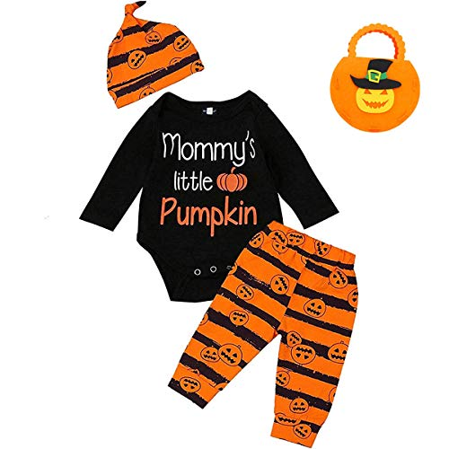 4Pcs Baby Boy Girl Halloween Outfit Mommy's Little Pumpkin Long Sleeve Clothes Set (0-3 Months, Black) ()